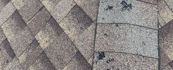 Roof with Hail Damaged Shingles